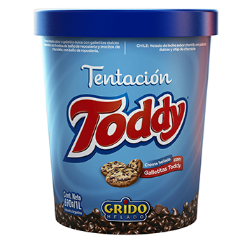 Helado de crema con trocitos de galletitas Toddy.