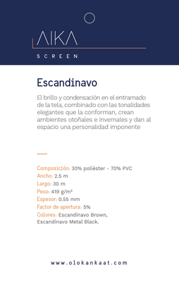 SCREEN ESCANDINAVO (Plata con Negro) al 5% (ancho 2,50 mts) OLO